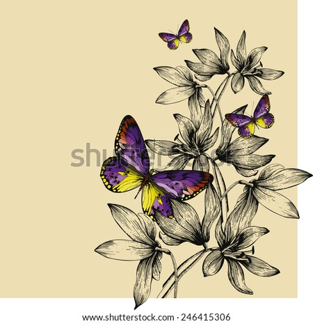 Floral background with colorful butterflies and snowdrops, hand-drawing. Vector illustration.