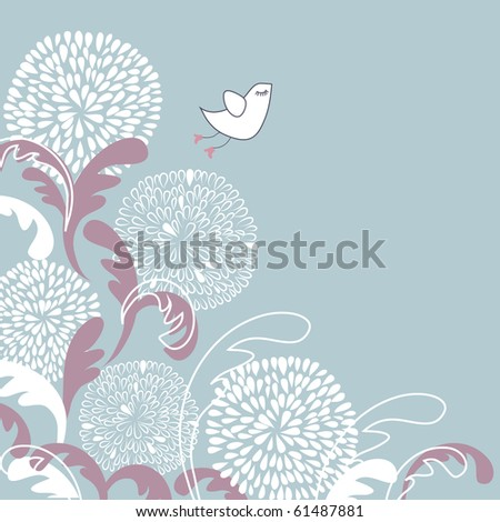 Floral background with cute little bird - stock vector