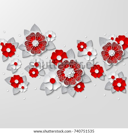 Floral Background With 3d Red And White Flowers Cut Out Paper Isolated On Vector