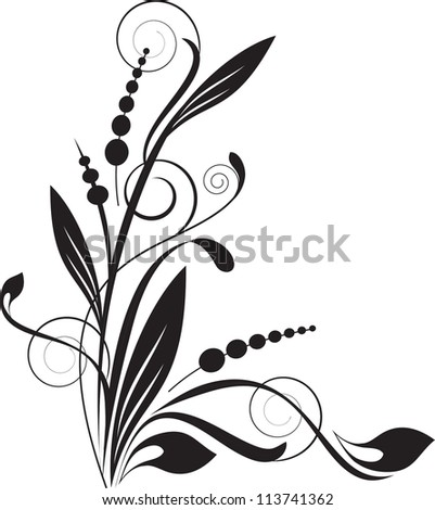 floral background with decorative branch - stock vector