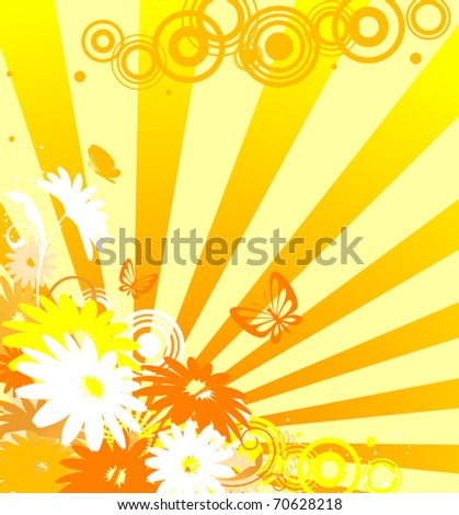 Floral background with flowers and sunlights. Jpeg version also available