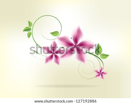 Floral background with flowers and swirls - stock vector