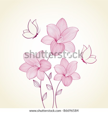 Floral background with flowers  lily and butterflies. Element for design. - stock vector