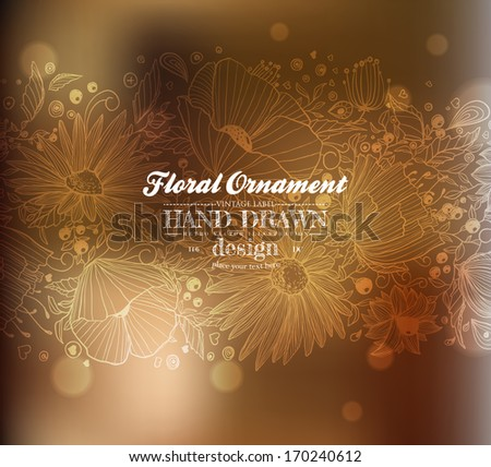 Floral Background with Flowers, Vector Illustration. Blurred Soft Background.