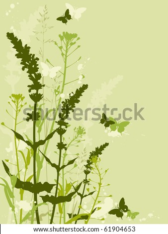 floral background with grass, flowers and butterflies - stock vector