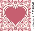 floral background with heart frame, vector image - stock vector