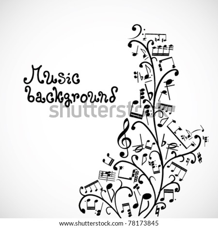 Floral background with music notes - stock vector