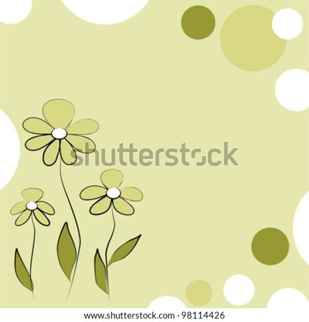 Floral background with oil darb three flowers, vector illustration - stock vector