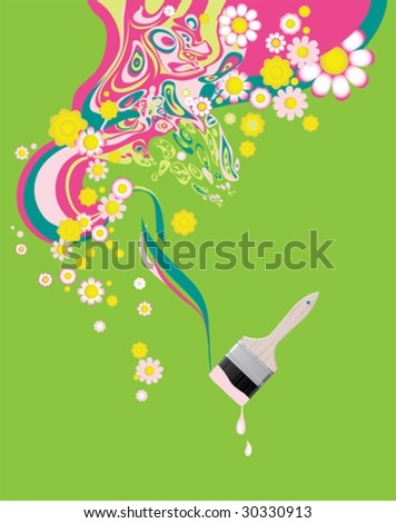 Floral background with paintbrush. All elements and textures are individual objects. Vector images scale to any size.