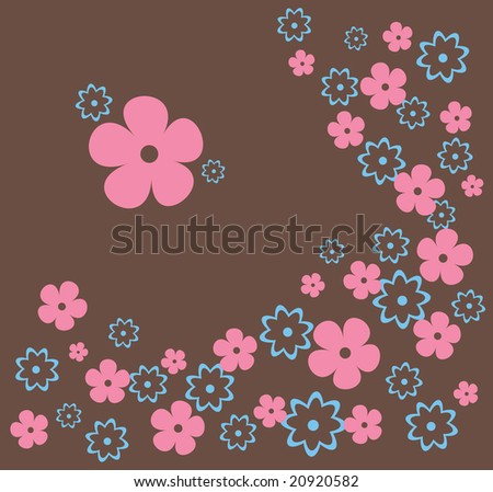 Floral background with pink and blue flowers