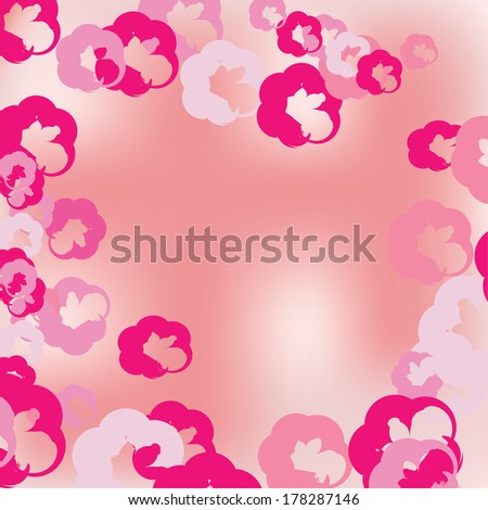 Floral background with pink watercolor  flowers - stock vector