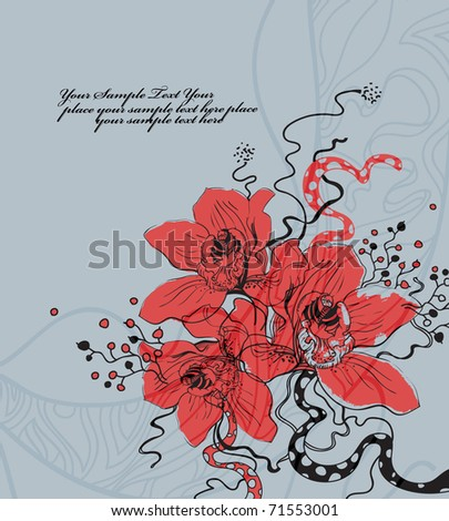 floral background with red blooming orchids and fantasy plants - stock vector