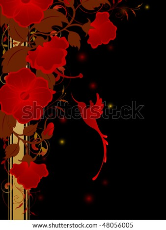 floral background with red flowers and humming-bird on a black background