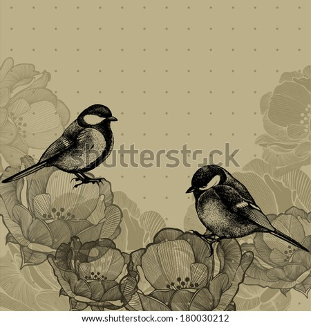 Floral background with roses and tits, hand-drawing. Vector illustration. - stock vector