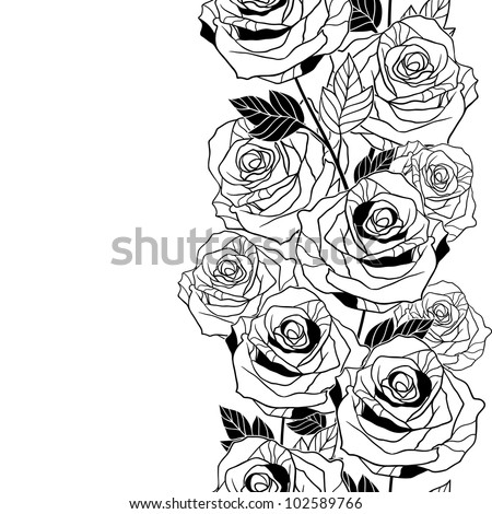 Floral background with roses. Vector seamless pattern. - stock vector