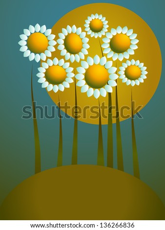 Floral background with sunshine and daisies