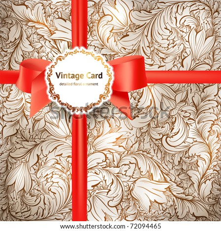 Floral Background with Vintage Label, detailed seamless floral ornament and red bow. EPS 10. - stock vector
