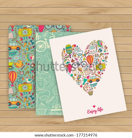 Floral banner for life events, vector on wood background. Place for text. Pattern is complete (masked). Use for invitations. Heart. Kids, travel, enjoy life. Travel vacation icons in heart shape.  - stock vector