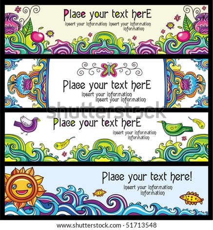 Floral banners (floral series) - stock vector