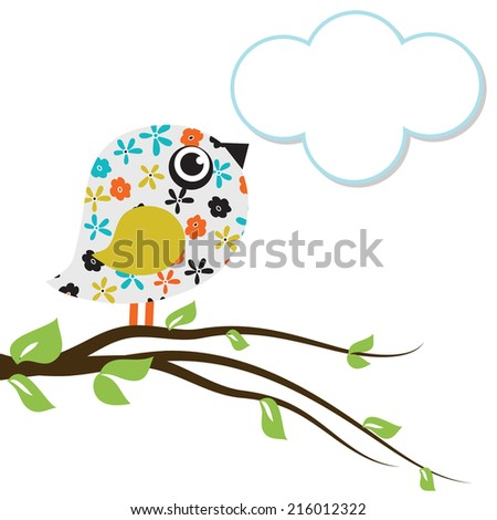 Floral bird with cloud speech bubble. Vector design for invitation, birthday and greeting card. - stock vector
