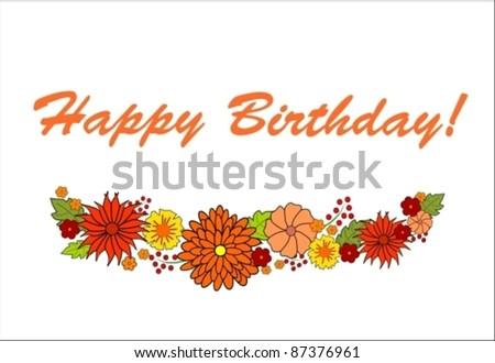 floral birthday card - stock vector
