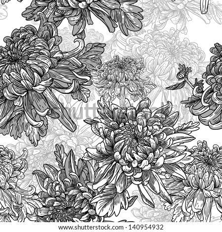 Floral Black And White Background With Chrysanthemums Vintage Pattern