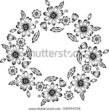 Floral Black White Round Frame Fabric Stock Vector 500994358 ...