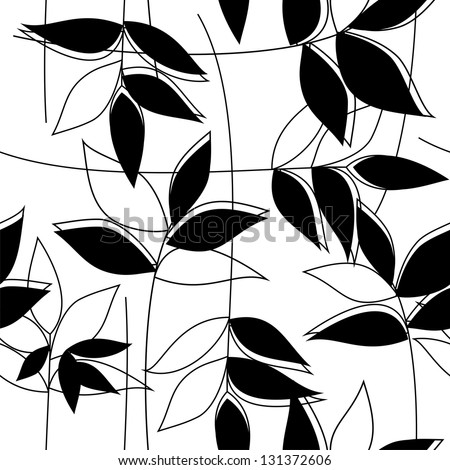 Floral black&white seamless pattern (vector version) - stock vector