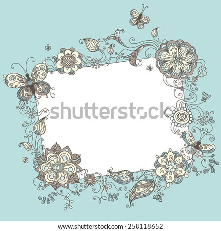 Floral blank sign. Illustration with linear floral elements and blank sign for your text.  - stock vector