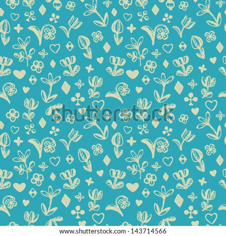 Floral blue seamless doodle texture. Endless cute pattern with decorative elements. Template for design - stock vector