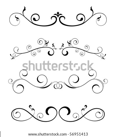 floral borders - design elements - stock vector