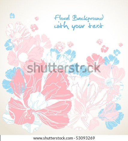 Floral bouquet for pregnant woman with blue and pink flowers and  a space for a text - stock vector
