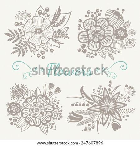 Floral bouquets. Decorative vector elements - stock vector