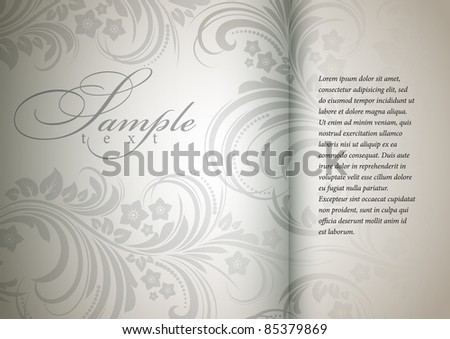floral bright background in a silver color - stock vector