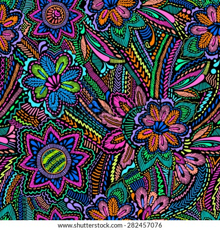 floral bright embroidery like print ~ seamless background - stock vector