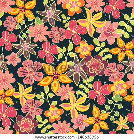 Floral bright seamless pattern. Vector illustration