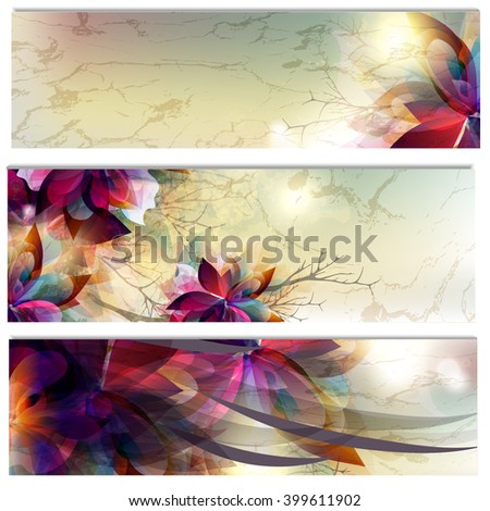 Floral brochures set with abstract foliage - stock vector