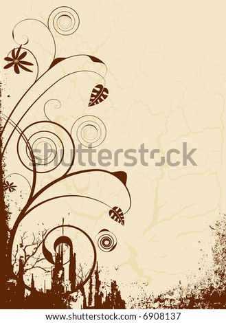 floral brown abstract image ideal as a background with room for your own text - stock vector