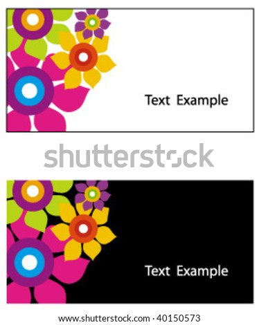 floral business card - stock vector