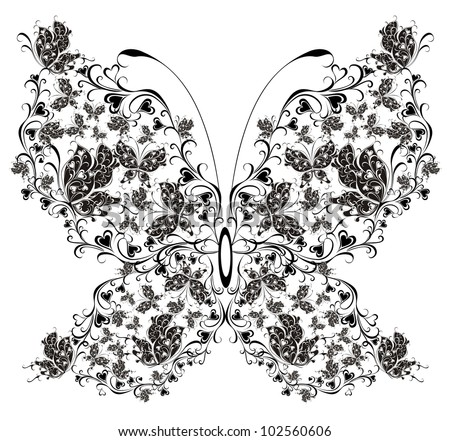 Floral butterfly - stock vector