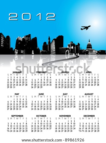 Floral Calendar for 2012. With Space reserved for logo and text. - stock vector