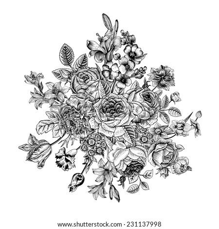 Floral Card Bouquet Roses Lily Anemone Vectores En Stock ...  Floral Card Bou...
