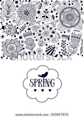 Floral card design, flowers and leaf doodle elements. Illustration made of flowers and herbs. Vector decorative invitation. Spring elements. Floral doodles - stock vector