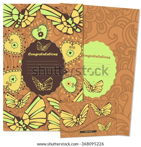 Floral card design, flowers and leaf doodle elements. Illustration made of flowers and herbs. Vector decorative invitation.  Invitation Template: holiday cards set. postcards and envelope  - stock vector