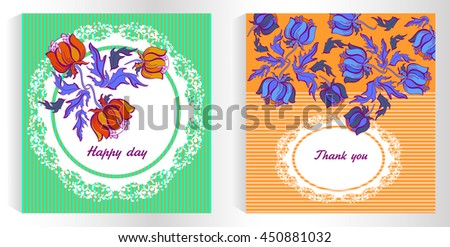 Floral card design, thank you,  and leaf doodle elements. Illustration made of flowers and herbs. Vector decorative invitation. Spring elements, doodles