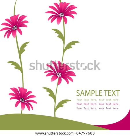 floral card, fabric texture - stock vector
