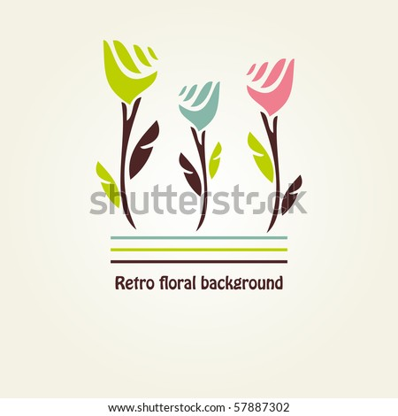 Floral card with abstract tulips - stock vector