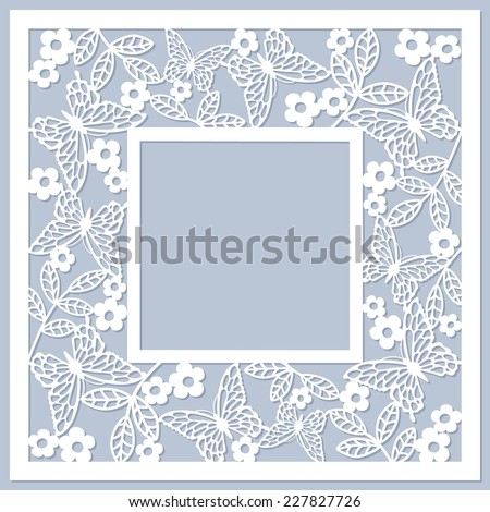floral card with butterfly - stock vector