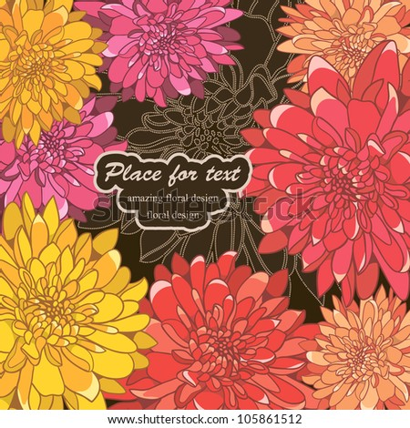 Floral card with hand-drawn brightly-colored flowers - stock vector
