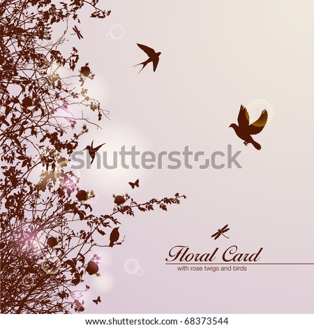 floral card with rose branches and birds - stock vector